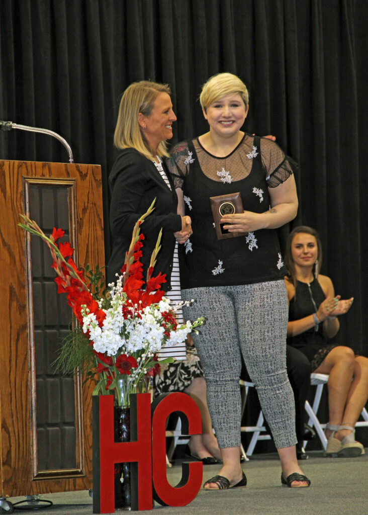 Paula Mills, Female American Legion Award winner with Erin MacKenzie, Administrative Dean Instruction and Student Services