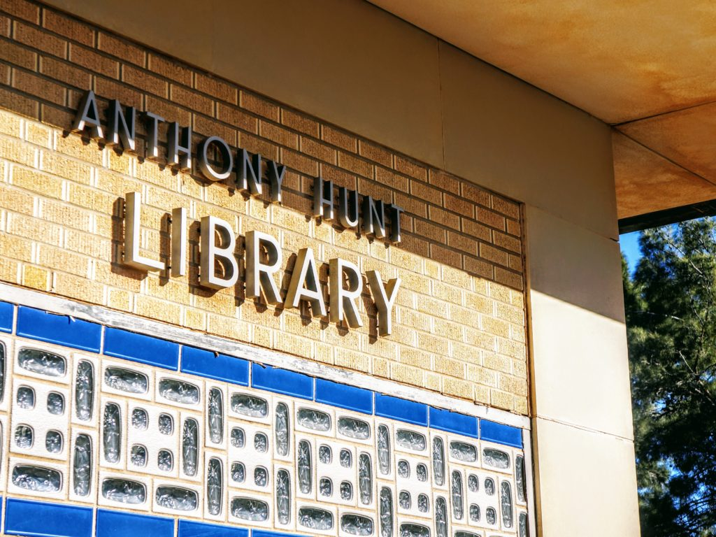 "Letters on exterior wall of library spell ""Anthony Hunt Library"""