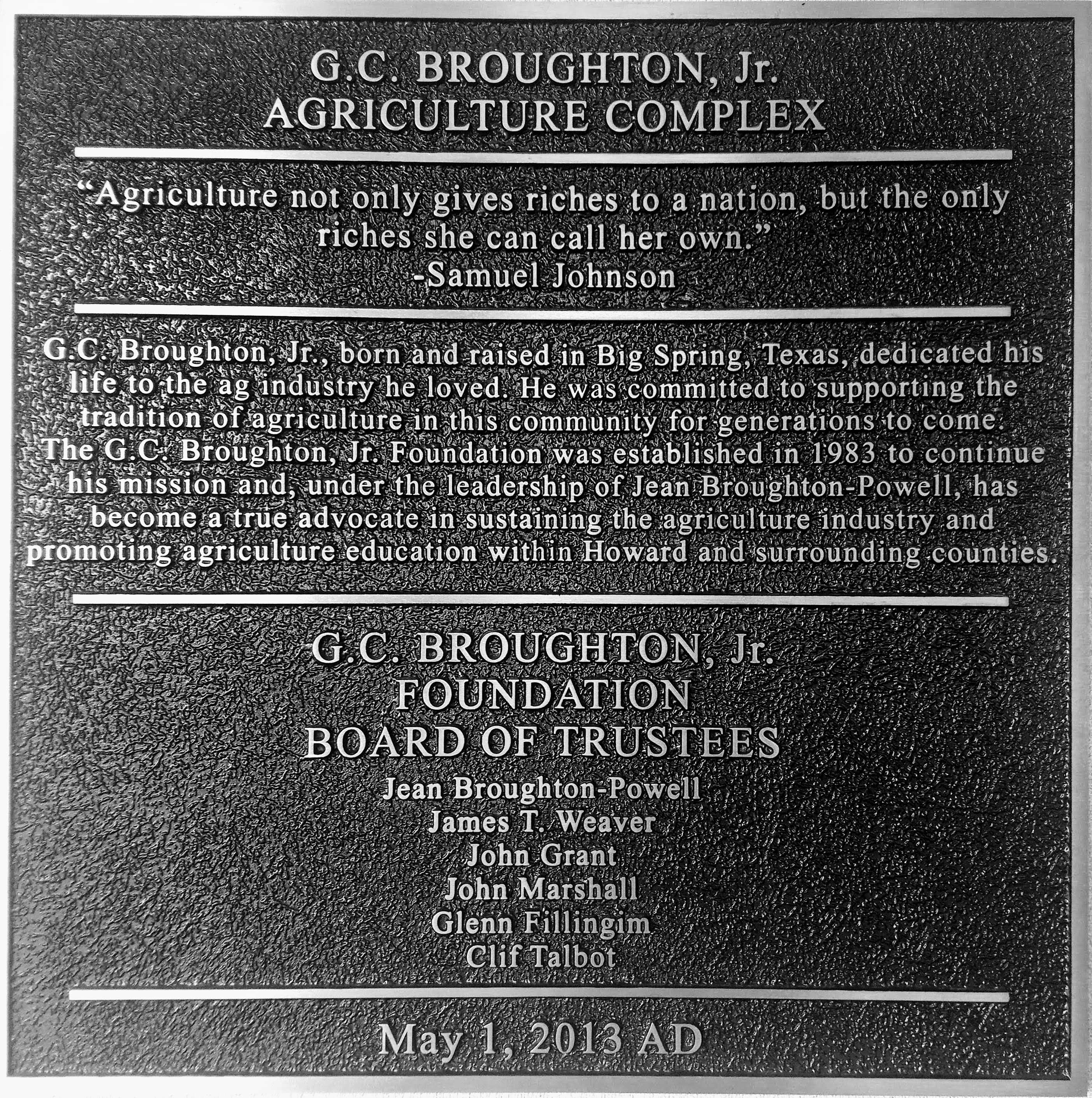 GC Broughton wall Plaque