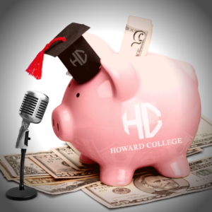 Piggy bank with H Clogo on site and grad cap on head.