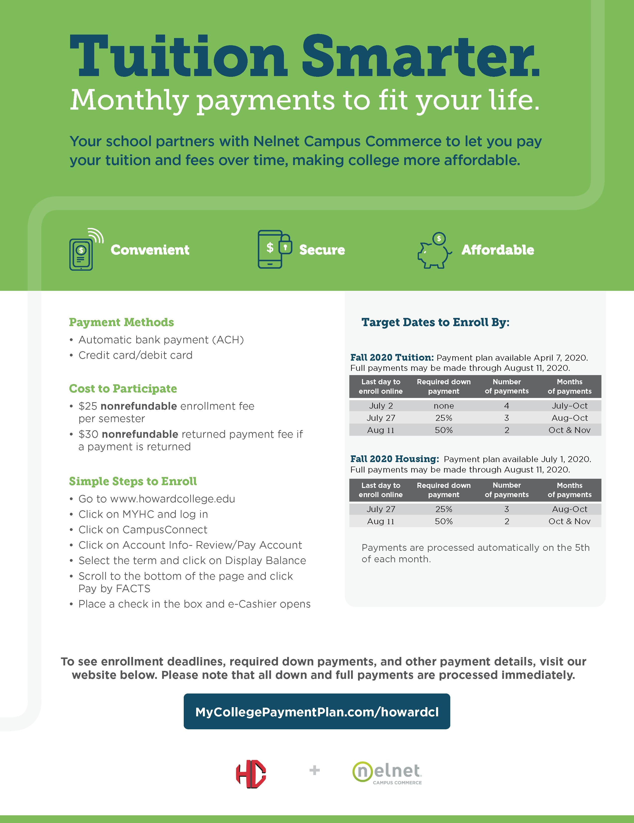 Tuition Smarter flyer discusses Payment Methods, Cost to Participate, and Simple Steps to Enroll