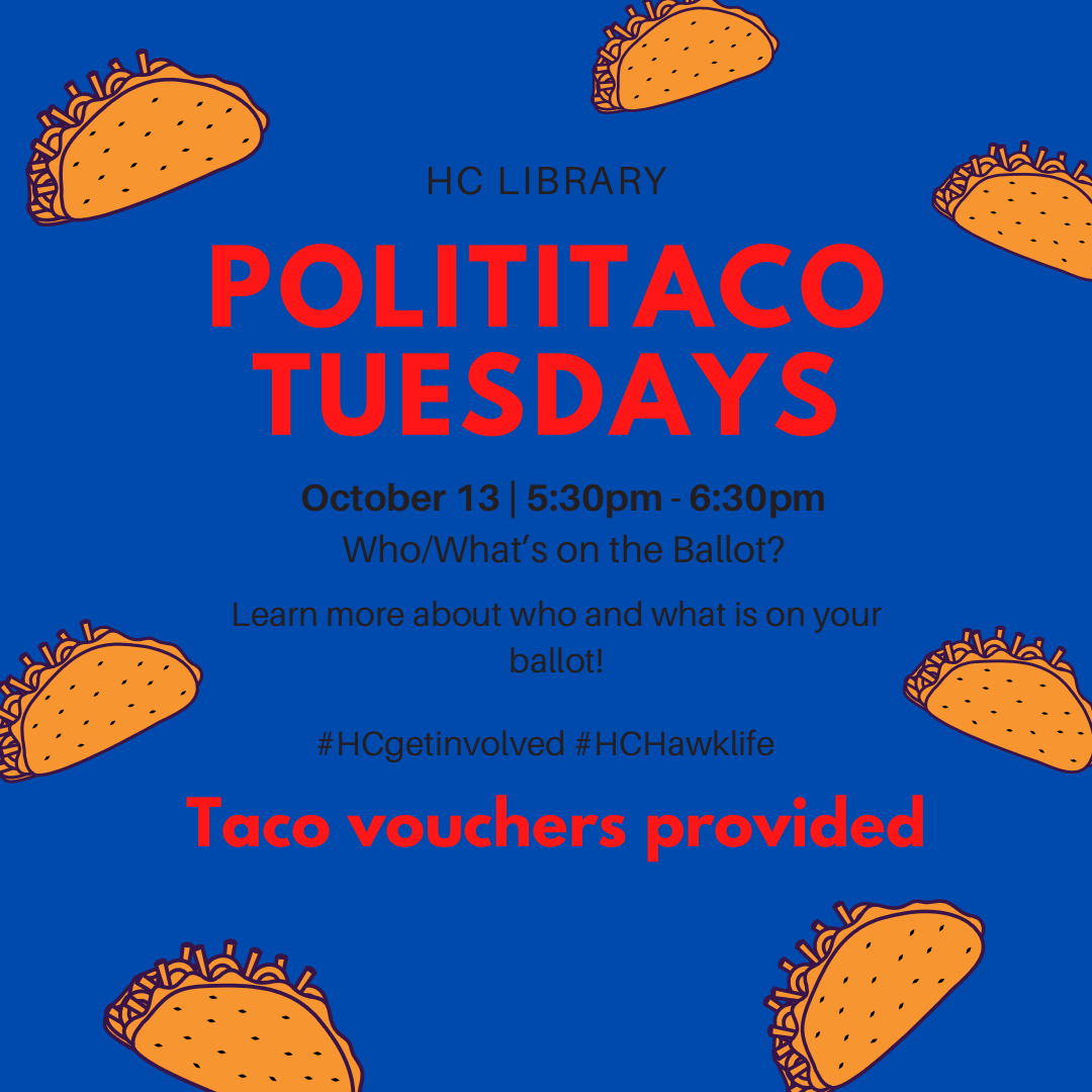 Graphic of tacos on blue background with text