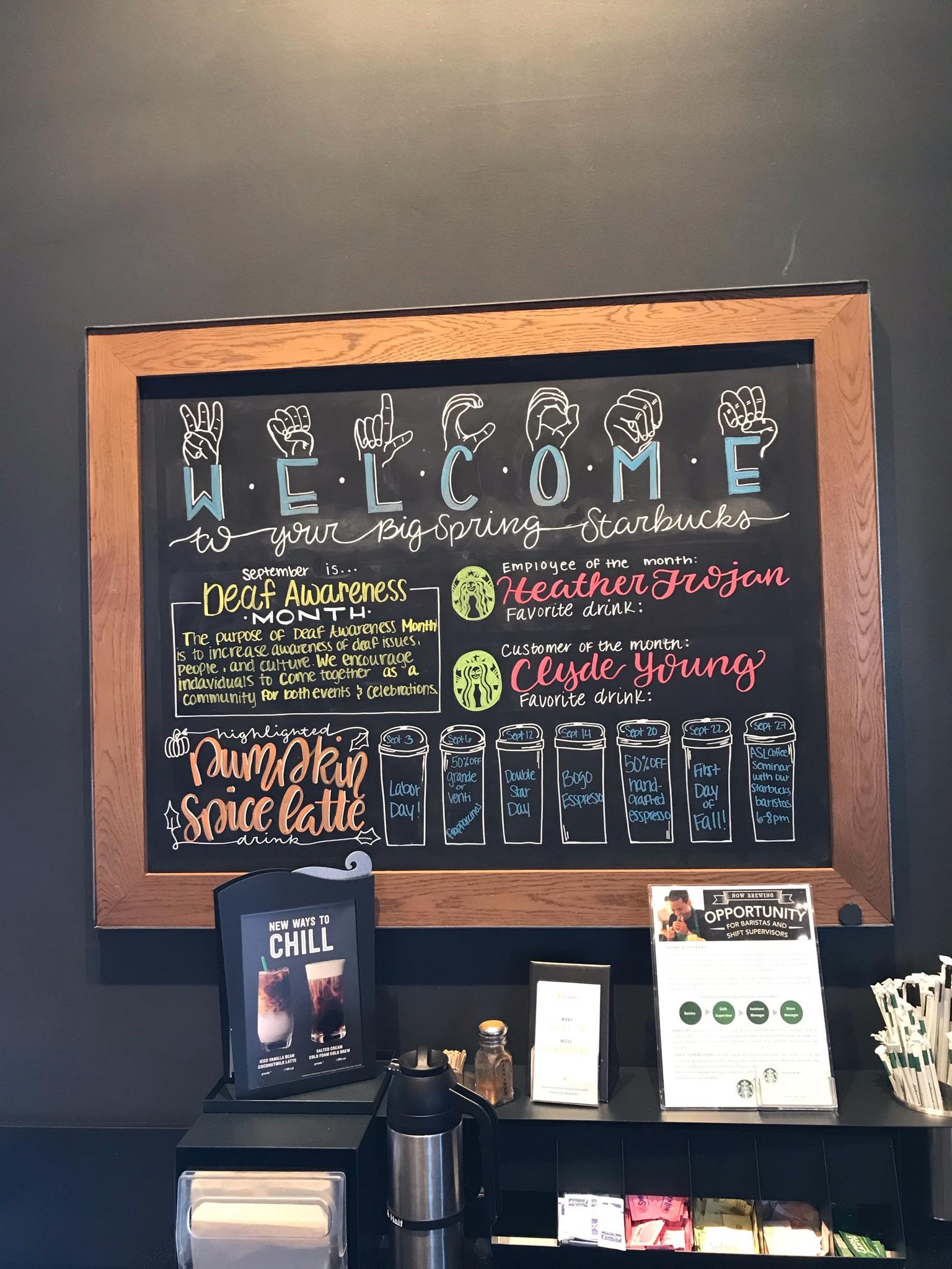 SWCID Promotes Deaf Awareness Month at Starbucks!