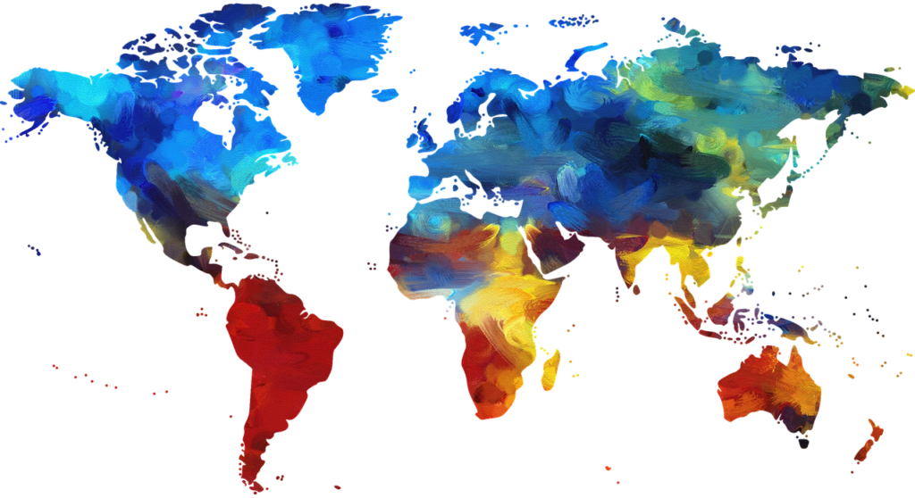 Artistic map of world