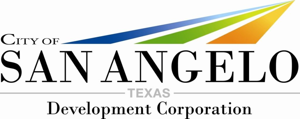 Logo for City of San Angelo, Texas Development Corporation with blue, green and orange stripes