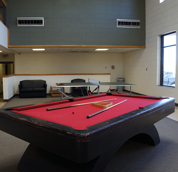 Pool table in Men's Dorm