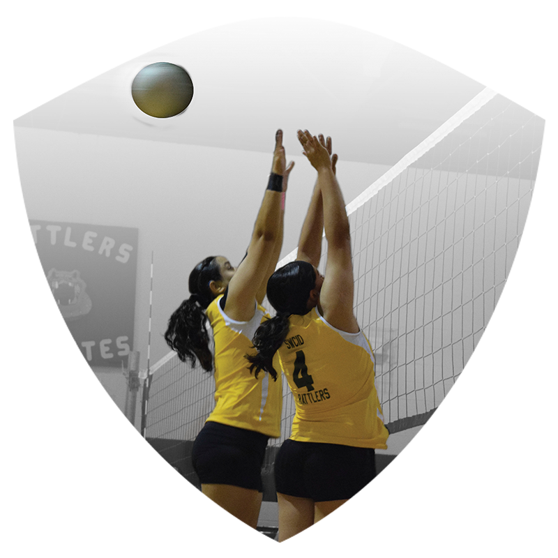 Two Women's Volleyball players jumping to block ball