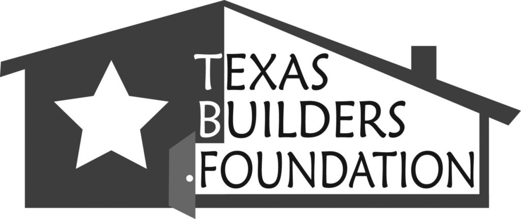 Logo for Texas Builders Foundation in black lettering, on illustration of outline of house with a large, white star